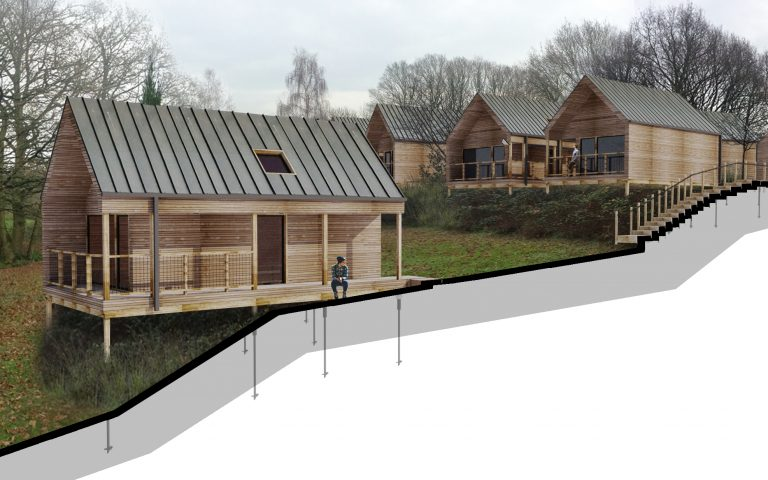 Woodland Retreat sectional drawing of timber clad cabins by Tait Architects